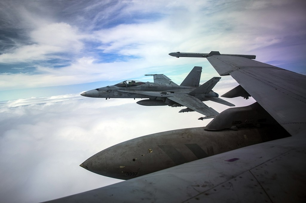 F/A-18C Hornet alongside F/A-18F Super Hornet
