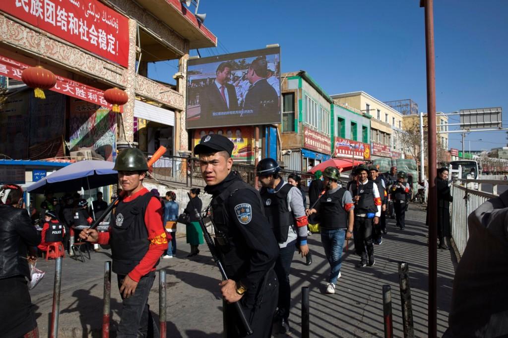 A civilian police patrol in Xinjiang