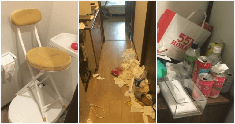 Airbnb room trashed by Chinese tourists. (Weibo im...