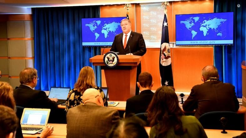 SoS Mike Pompeo during his address (Image from blogs.state.gov)