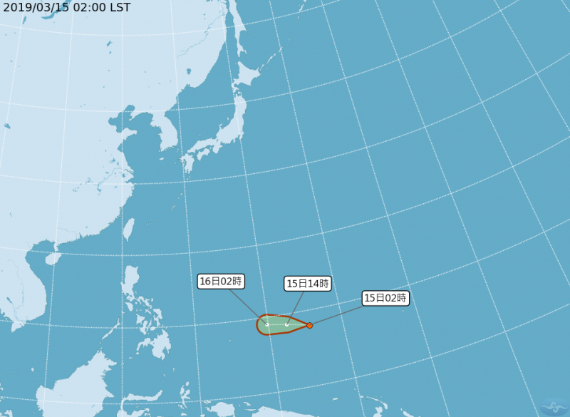 CWB map showing tropical depression's predicted path.