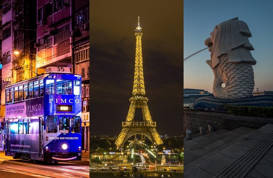 (左起)香港、巴黎、新加坡(圖/Pixabay)