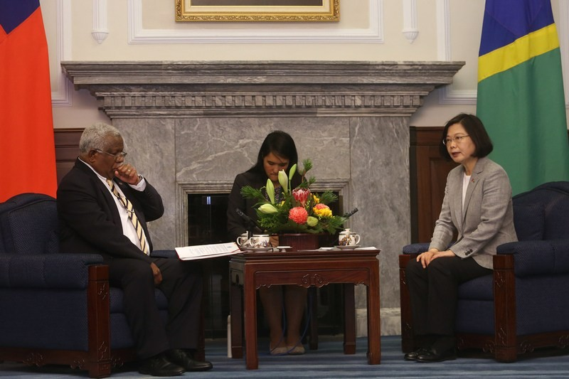 File photo: Solomon islands PM Houenipwela and President Tsai, May 2018