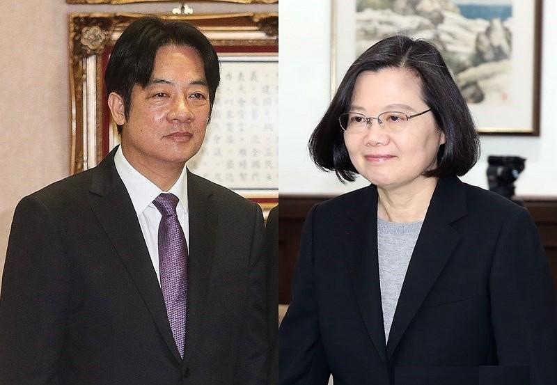 賴清德(左)、蔡英文