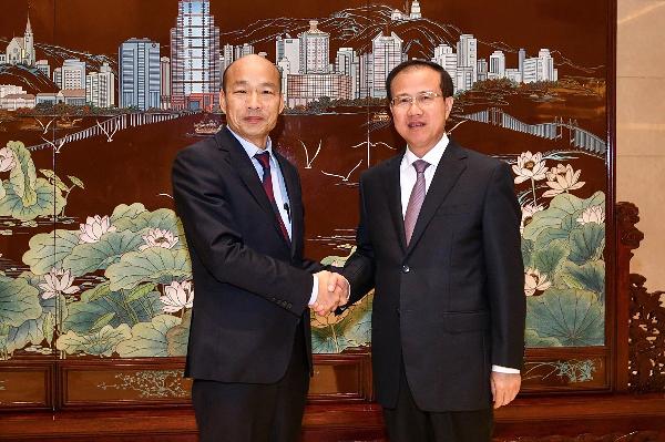 Han Kuo-yu with CCP official in Macau, Fu Ziying