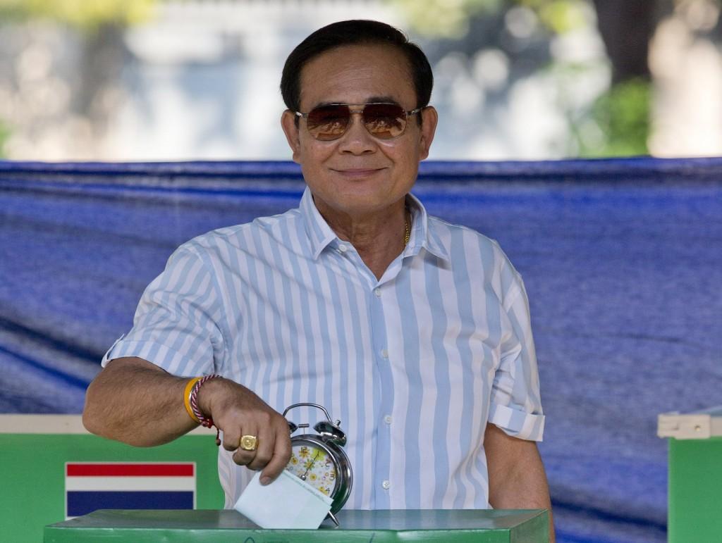 Thailand's PM Prayuth Chan-ocha at a polling station in Bangkok, March 24