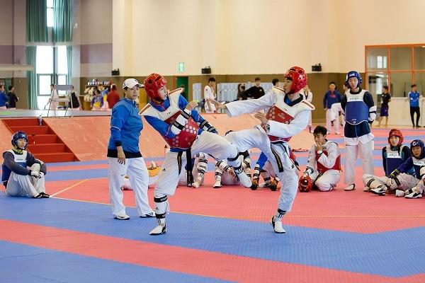Taekwondo athletes at NSTC in Kaohsiung (Taiwan today photo)