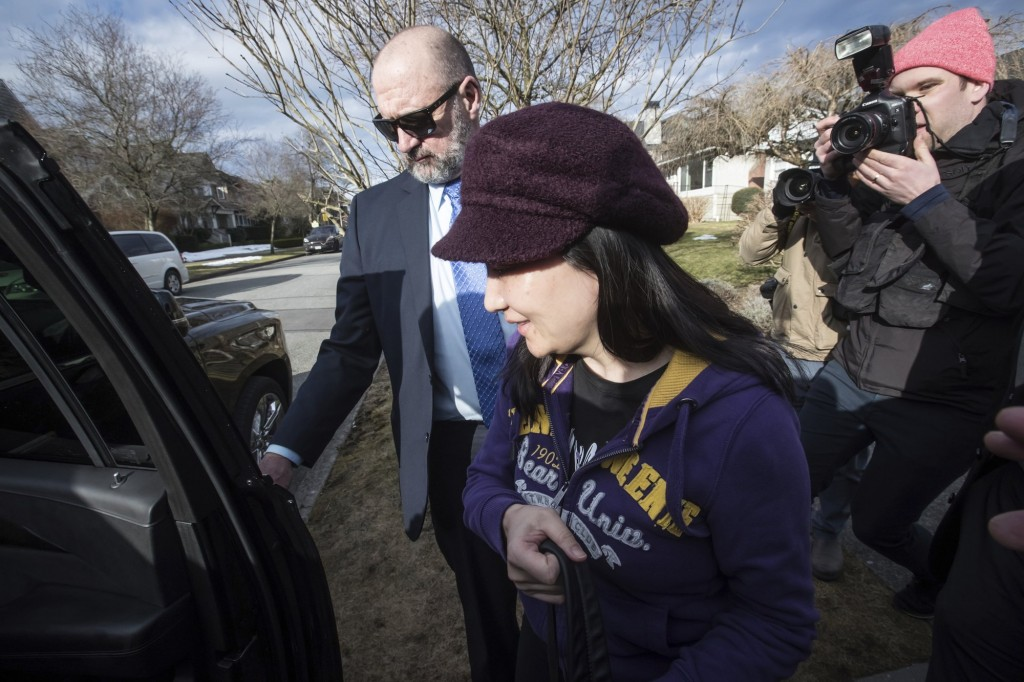 Meng Wanzhou leaves her home for a court appearance in Vancouver, March 6