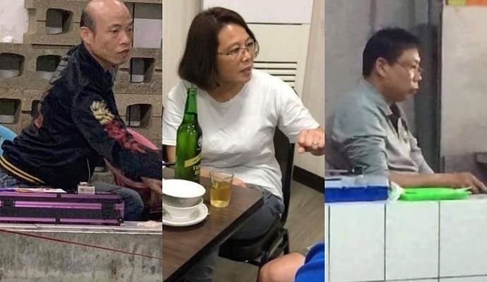 Han, Tsai, Ko lookalikes. (Images from Baofei Commune Facebook page)