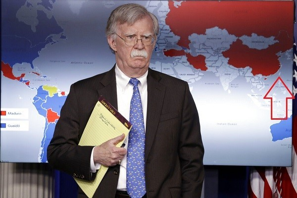 A map of China without Taiwan shown at the White House last January, with National Security Adviser John Bolton in the foreground.