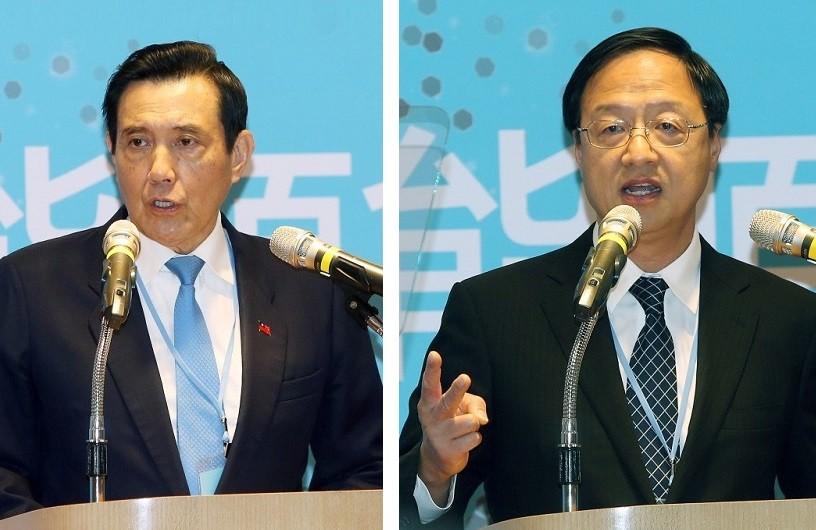 當時的總統馬英九(左)與時任行政院長江宜樺。(圖/中央社)