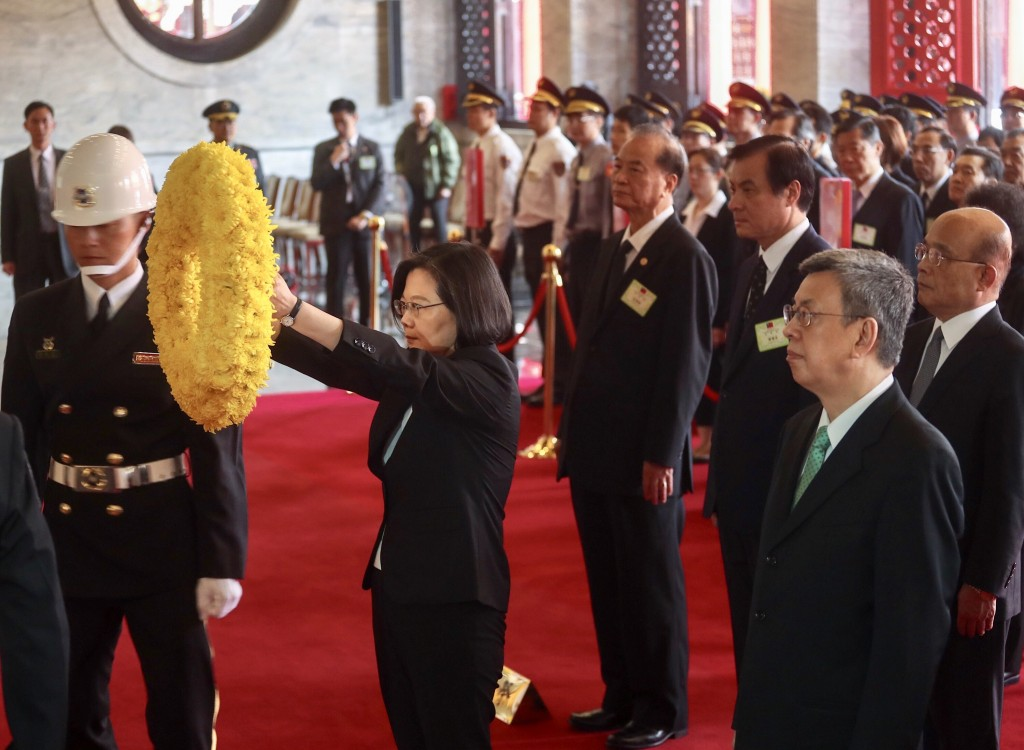President Tsai Ing-wen pays her respects at Taipei's Martyrs' Shrine.