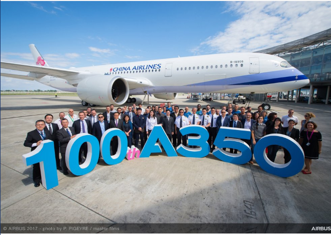 The handover of the China Airlines Airbus A350-900 which was reportedly hit by a truck at Sydney Airport Tuesday (screenshot from www.airbus.com).