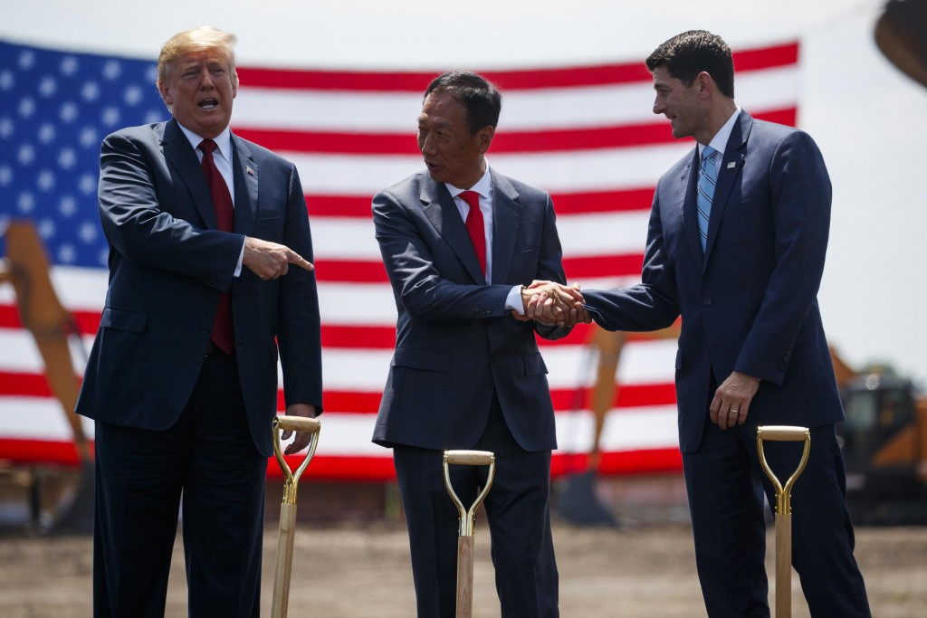 Then-House Speaker Paul Ryan (right) at last June's groundbreaking for the Foxconn plant in Wisconsin with Terry Gou (center) and President Trump