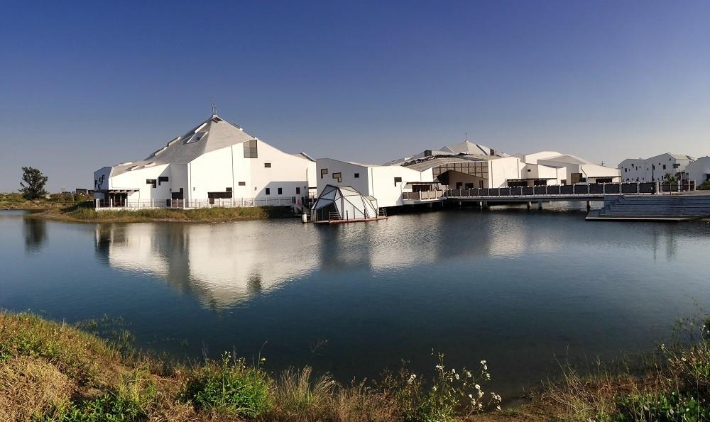 台江學園」採特殊高腳屋設計,獲評定為鑽石級綠建築,更已成為台南拍照打卡的新地標。(照片由內政部提供)