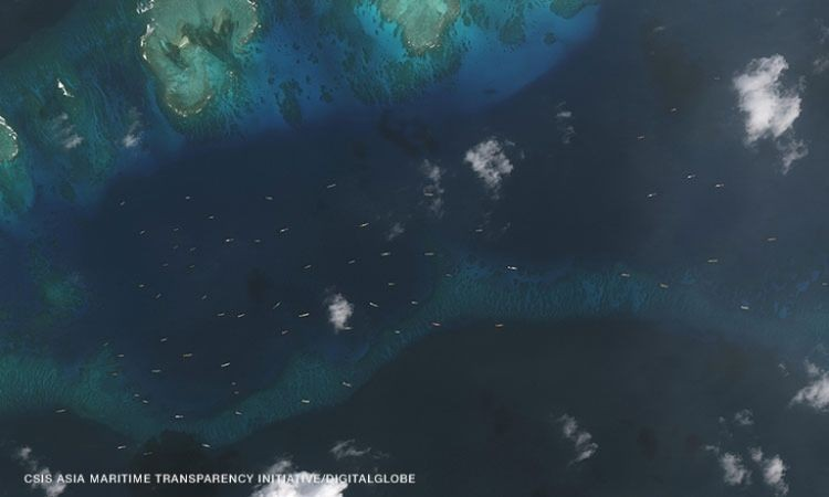 Chinese fishing boat flotilla occupying waters of Thitu Island (AMTI photo)