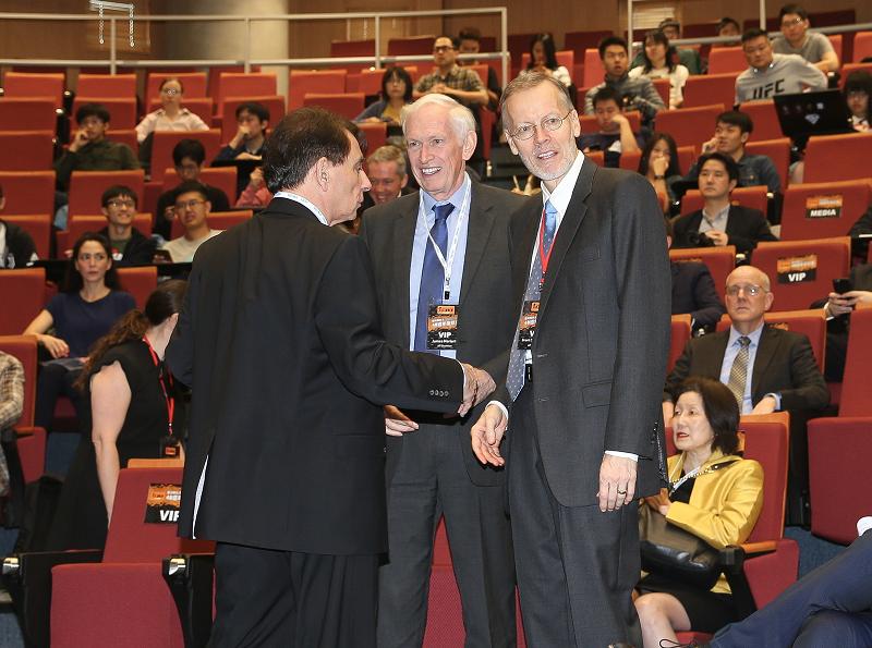 AIT Dir., Brent Christensen (R), with AIT Chairman James Moriarty (C) and former Dir. William Stanton (L)