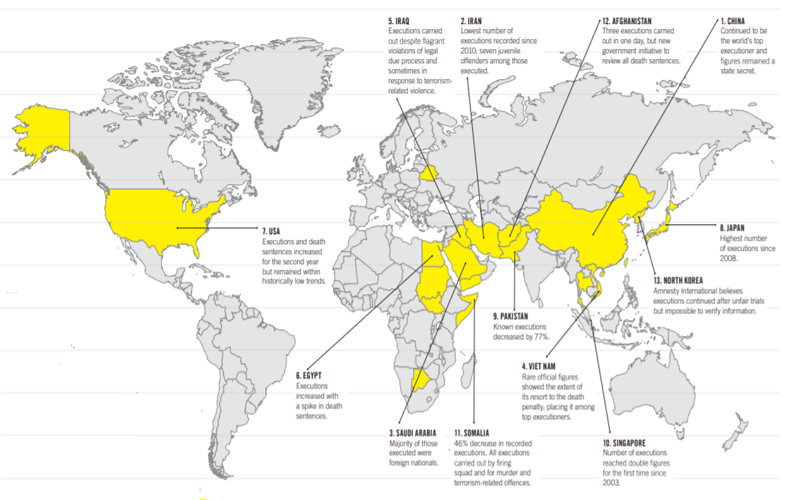 Map of countries practicing capital punishment in 2018 (Image/Amnesty International)
