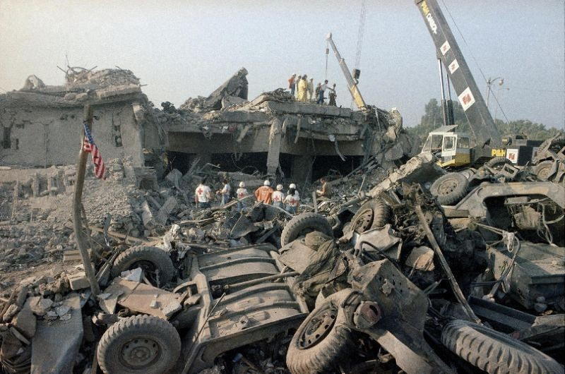 Photo of ruins of U.S. Marine barracks in Beirut.