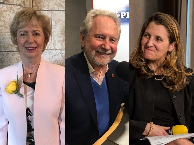 Canadian Foreign Minister Chrystia Freeland (right), Senator Peter Harder (center), and MP Judy Sgro (left)