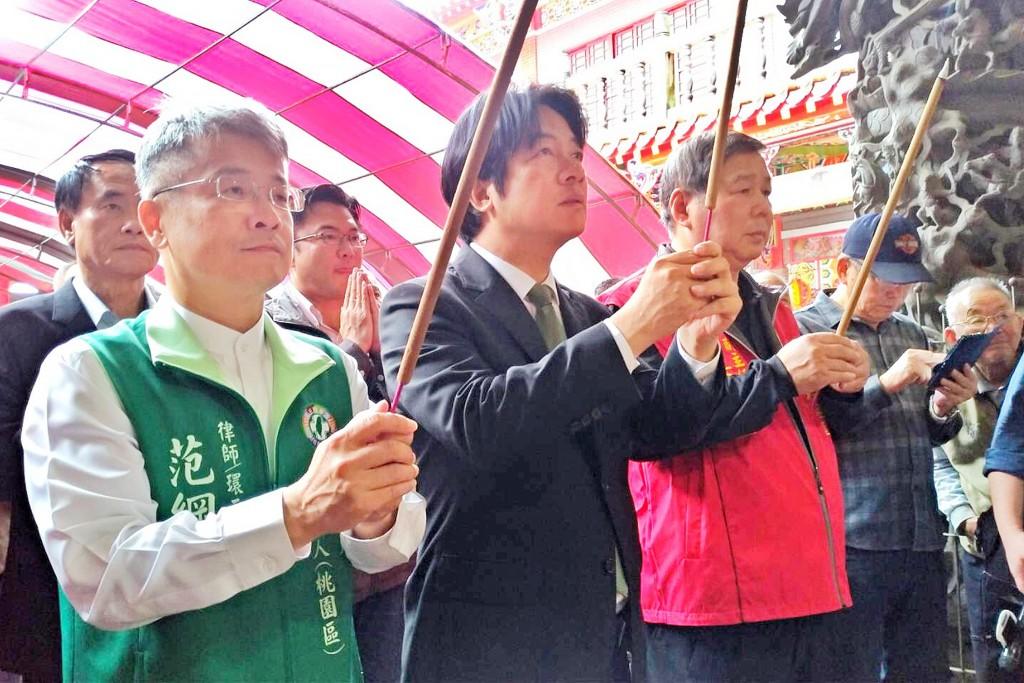 Ex-Premier William Lai visiting a temple Tuesday April 16.