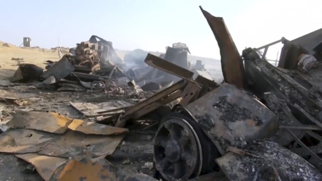 This image made from video shows a radar site after a U.S. airstrike in Hodeida,Yemen on Thursday, Oct. 13, 2016. US-launched Tomahawk ...
