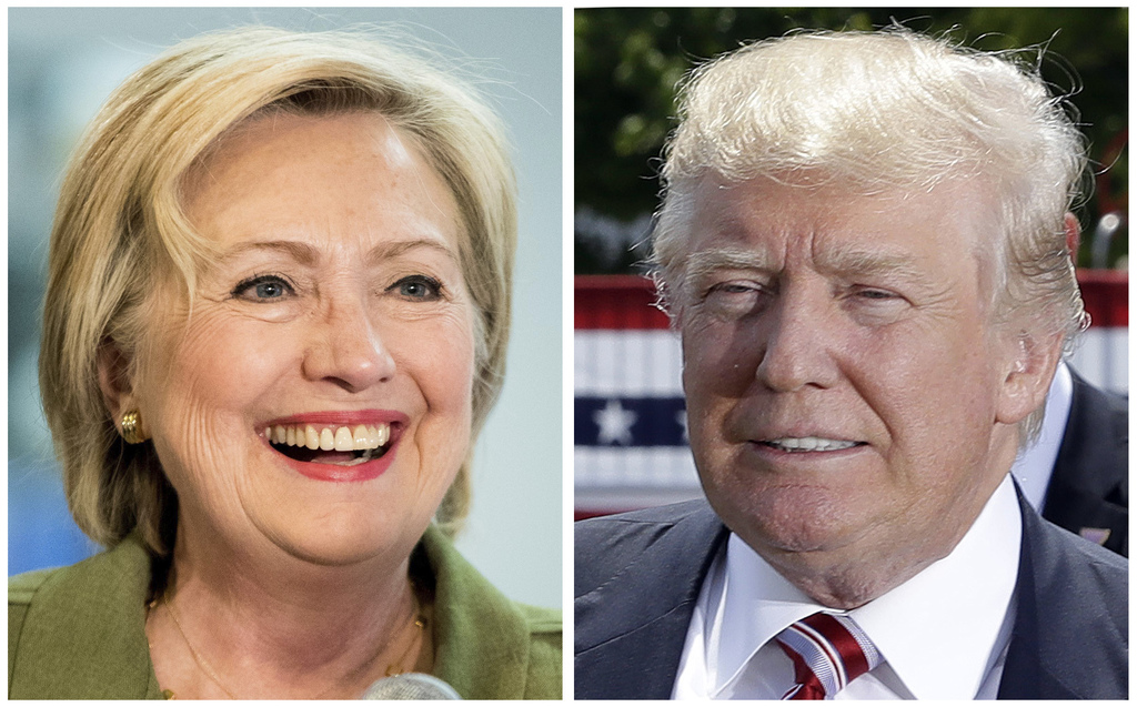 Democratic presidential candidate Hillary Clinton and Republican presidential candidate Donald Trump in 2016 photos. This is a presiden...