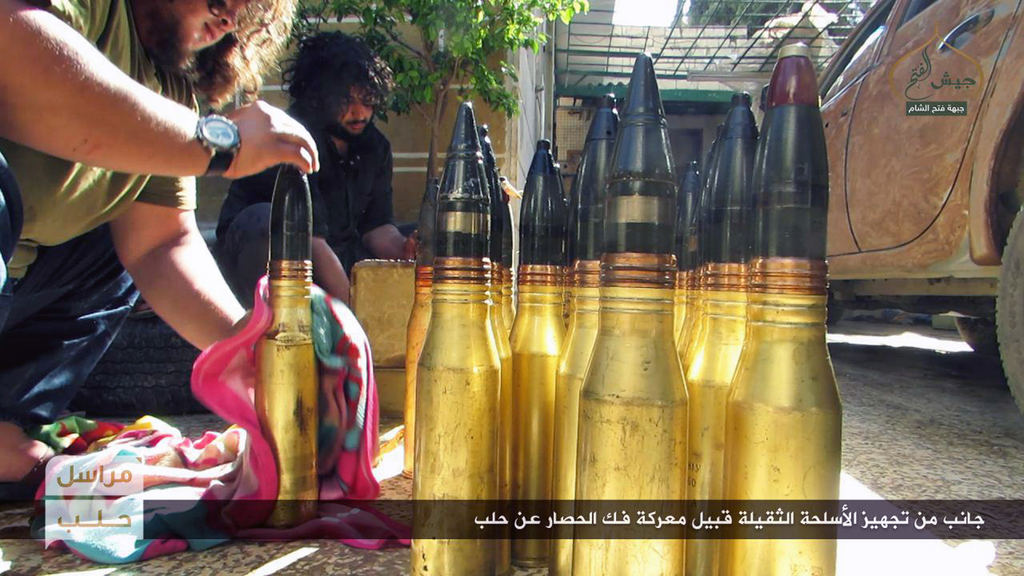 This photo released online on Friday, Oct. 28, 2016, by the website of the al-Qaida-linked Fatah al-Sham, an anti-government militant g...