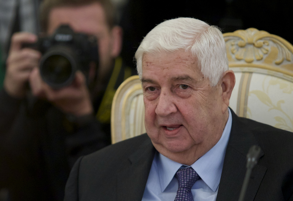 Syrian Foreign Minister Walid al-Moallem speaks during his meeting with Russian Foreign Minister Sergey Lavrov in Moscow, Russia, Frida...