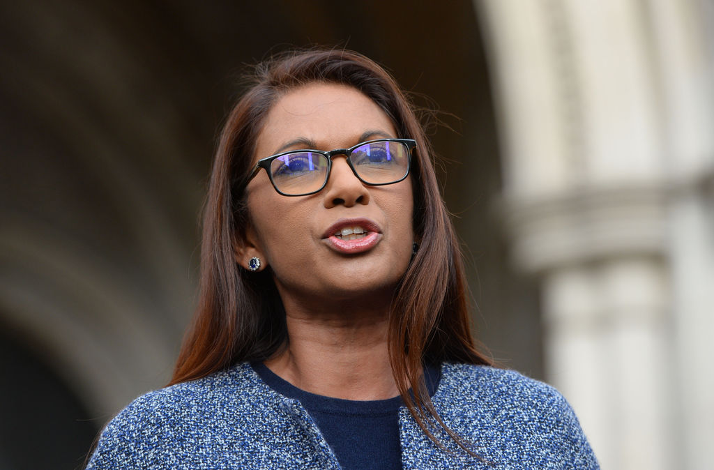 Business woman Gina Miller speaks to the media, at the High Court in London, Thursday Nov. 3, 2016. In a major blow for Britain's gover...