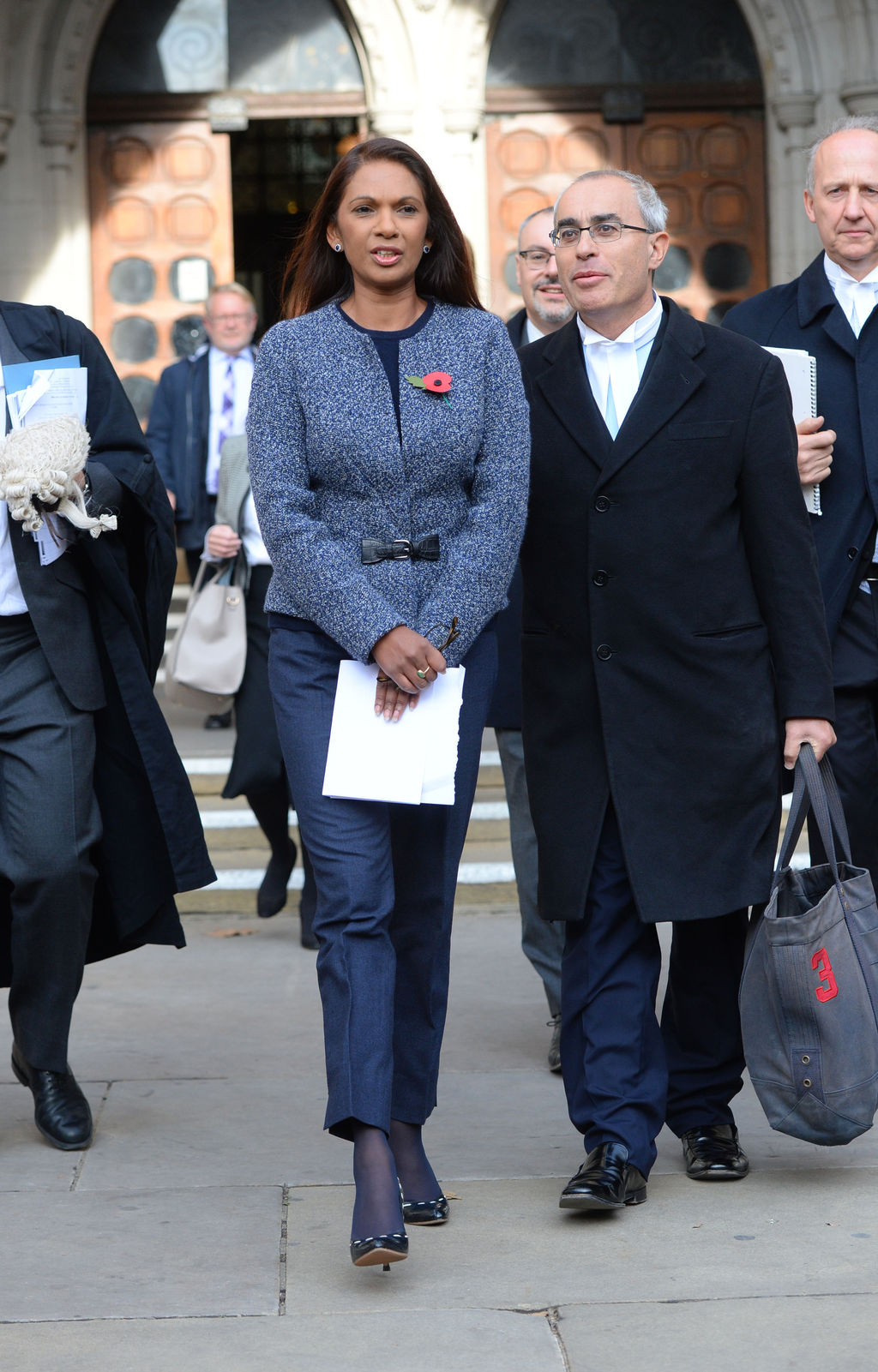 Business woman Gina Miller leaves the High Court in London, Thursday Nov. 3, 2016. In a major blow for Britain's government, the High C...