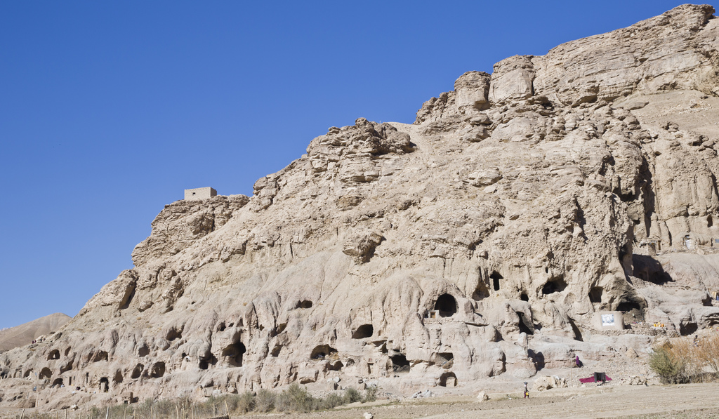 In this Monday, Nov. 7, 2016 photo, a general view of cave homes in Bamiyan, Afghanistan. The cave-dwelling families of Afghanistan's B...