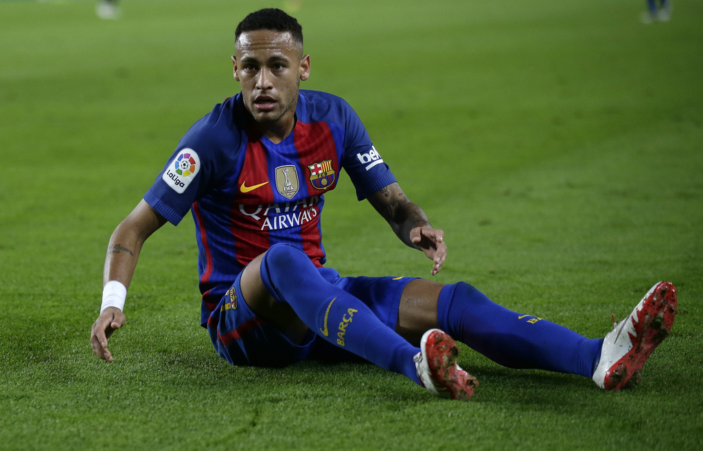 FC Barcelona's Neymar reacts during the Spanish La Liga soccer match between FC Barcelona and Malaga at the Camp Nou in Barcelona, Spai...