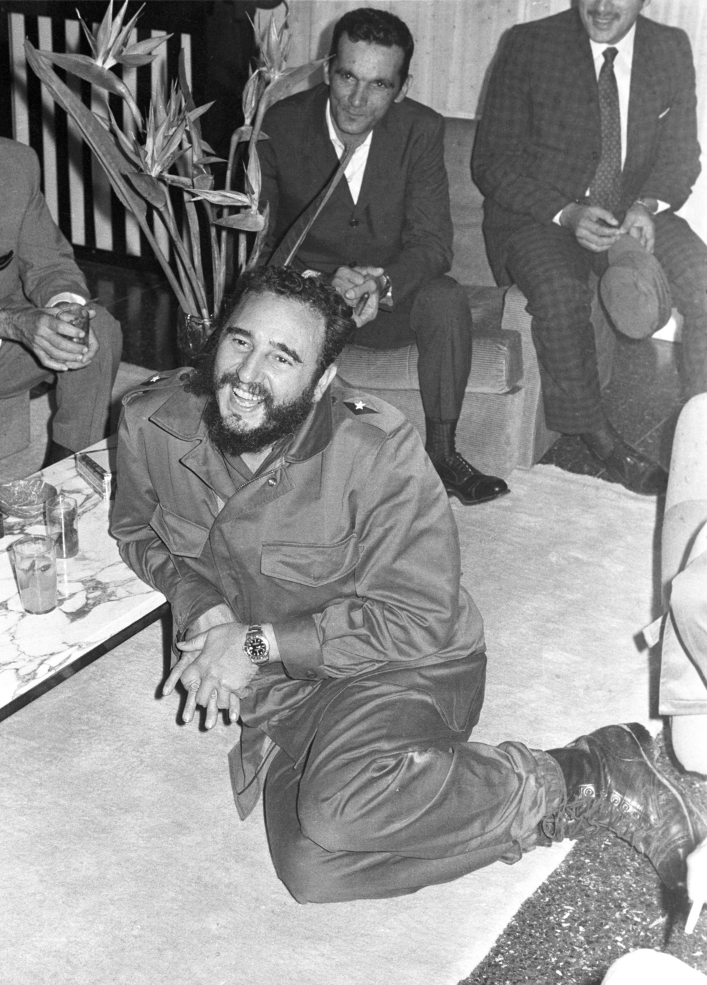 FILE - In this May 1972 file photo, Cuba's leader Fidel Castro smiles during a visit to the Cuban embassy in Algiers, Algeria. Castro h...