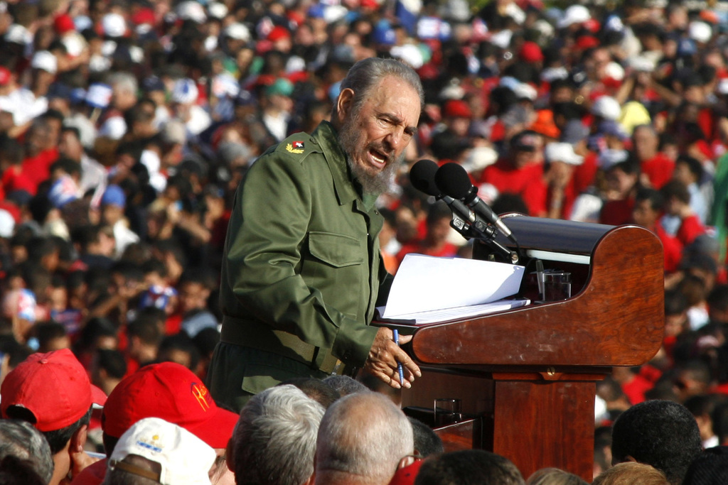 FILE - In this  May 1, 2006 file photo, Cuba's leader Fidel Castro speaks on International Workers Day in Revolution Plaza in Havana, C...