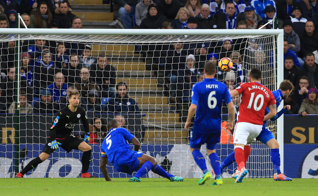 Middlesbrough's Alvaro Negredo, second right, scores against Leicester City during the English Premier League soccer match at the King ...
