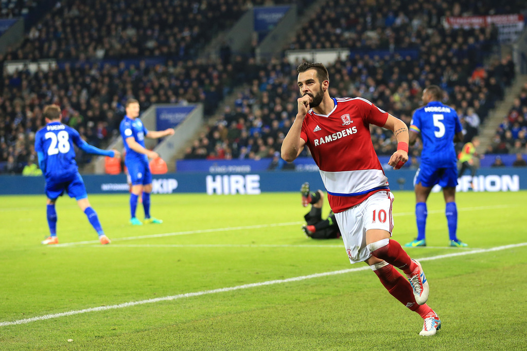 Middlesbrough's Alvaro Negredo celebrates scoring his side's second goal of the game during their English Premier League soccer match a...