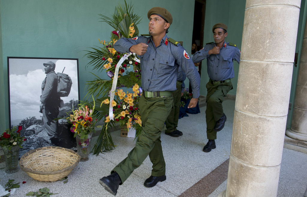 Members of the revolutionary militia change guard at a memorial in honor of the late Fidel Castro in Guanabacoa on the outskirts of Hav...
