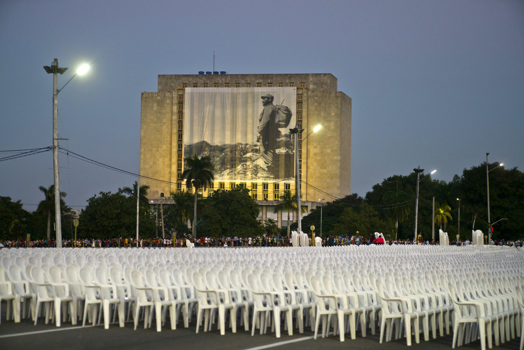 Chairs sit out ahead of a next-day event in honor of the late Fidel Castro at Revolution Plaza in Havana, Cuba, Monday, Nov. 28, 2016. ...