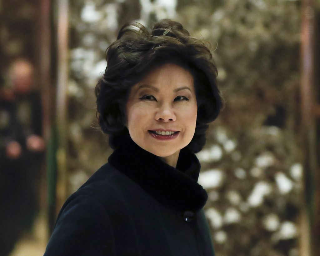 In this Nov. 21, 2016 photo, former Labor Secretary Elaine Chao arrives at Trump Tower in New York, to meet with President-elect Donald
