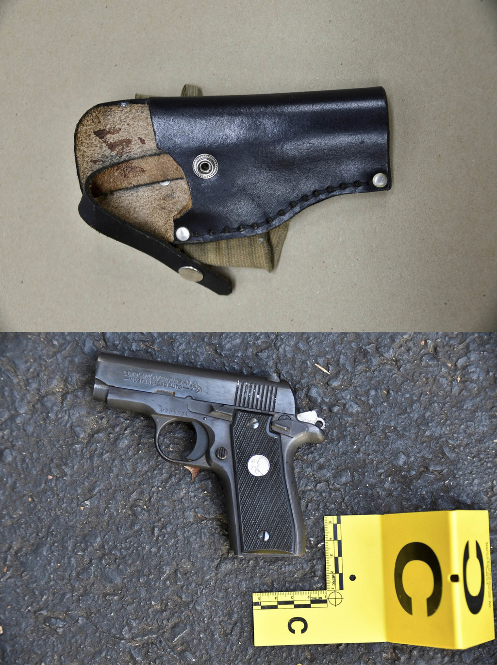 FILE - This combination of photos provided by the Charlotte-Mecklenburg Police Department on Sept. 24, 2016 shows an ankle holster, top...