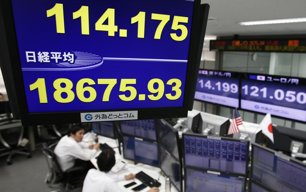 A monitor shows the current exchange rate between Japanese yen and U.S. dollar, top, and Nikkei stock index, bottom, at a foreign excha...