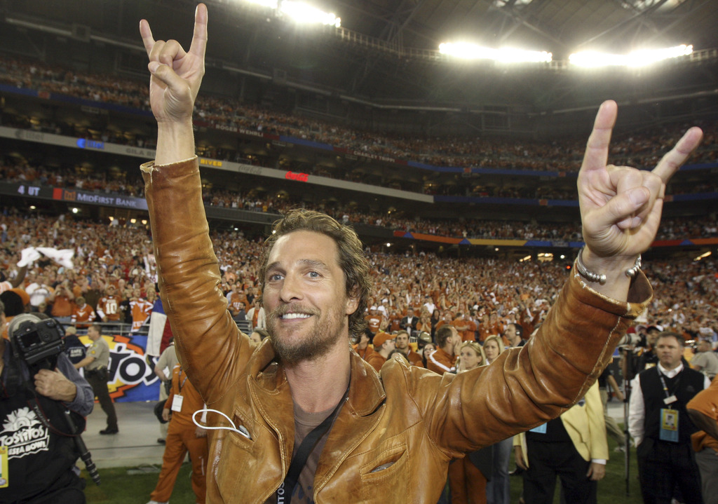 FILE - In this Jan. 5, 2009, file photo, actor Matthew McConaughey celebrates after Texas defeated Ohio State 24-21 in the Fiesta Bowl ...