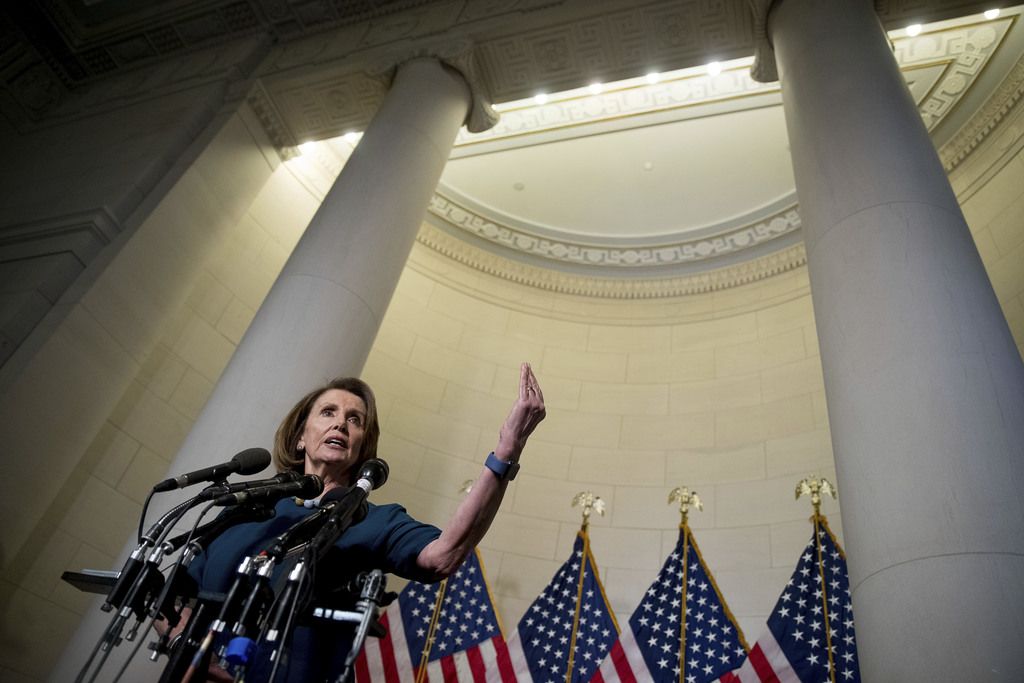 House Minority Leader Nancy Pelosi of Calif. speaks to members of the media following House Democratic Caucus elections on Capitol Hill...