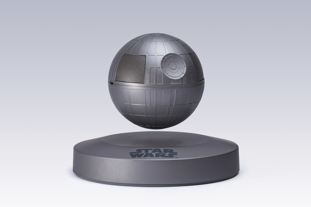 "This photo provided by Plox shows the ""Star Wars"" Death Star levitating bluetooth speaker. It's a little tricky to set up, but once you..."