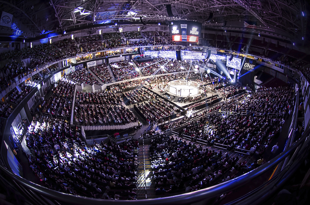 In this June 12, 2016 photo, the stadium for a ONE Championship competition at the Mall of Asia Arena, Manila, Philippines. Asia's lead...