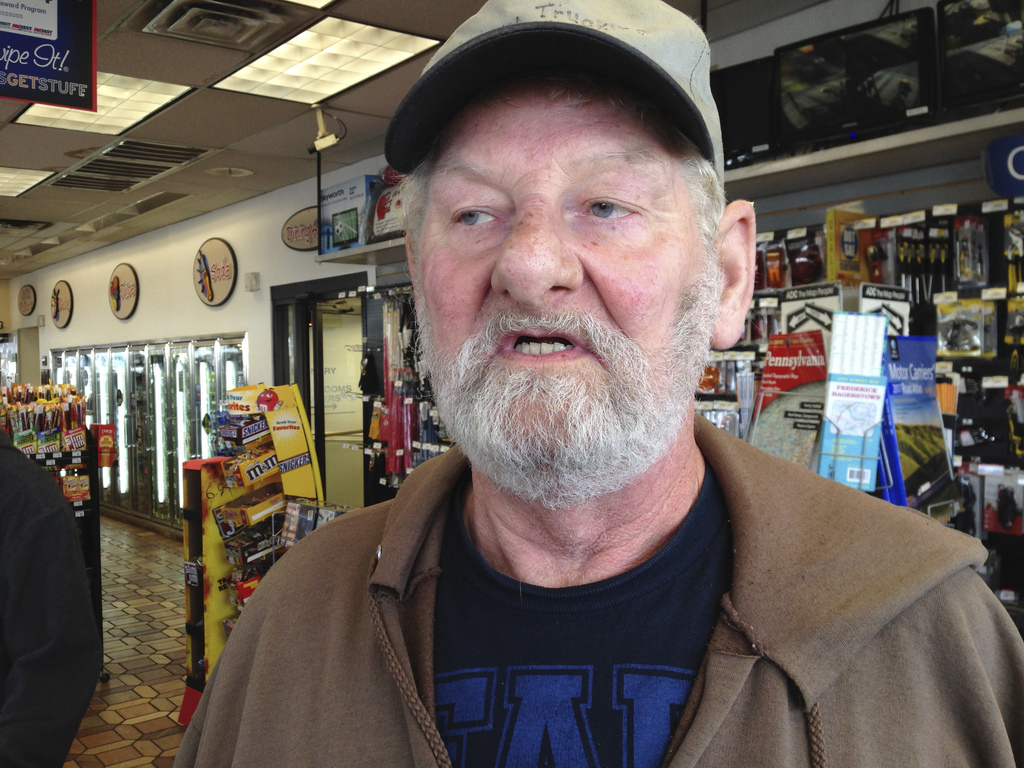 Truck driver George Lafferty of Henry, Illinois, talks at a truck stop along Interstate 81 in Hagerstown, Md., Wednesday, Dec. 7, 2016....