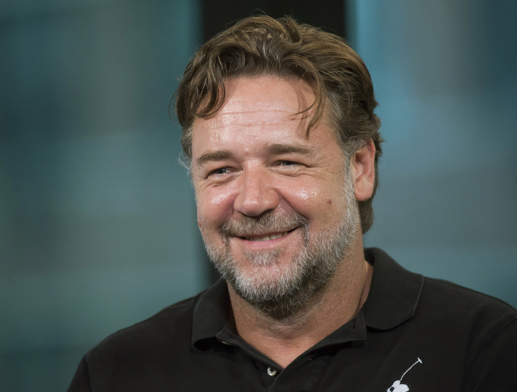 """FILE - In this May 13, 2016 file photo, Russell Crowe participates in AOL's BUILD Speaker Series to discuss the film """"The Nice Guys"""", i..."""