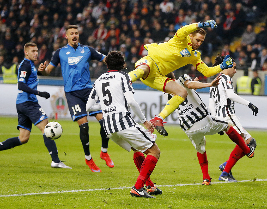 Hoffenheim goalkeeper Oliver Baumann is in the air during a German first division Bundesliga match between Eintracht Frankfurt and TSG ...