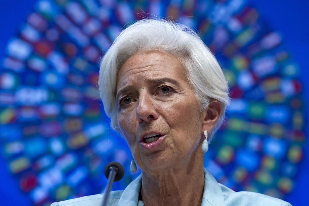 FILE - In this Oct. 8, 2016 file photo, International Monetary Fund (IMF) Managing Director Christine Lagarde speaks during a news conf...